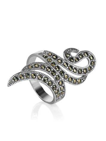 Snake Design Silver Ring With Marcasites The Lace, Ring Size: 6.5 / 17, image , picture 3