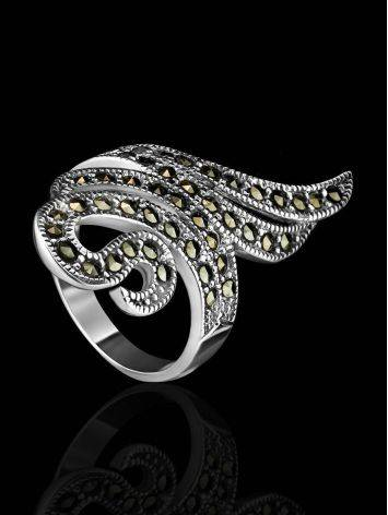 Snake Design Silver Ring With Marcasites The Lace, Ring Size: 6.5 / 17, image , picture 2