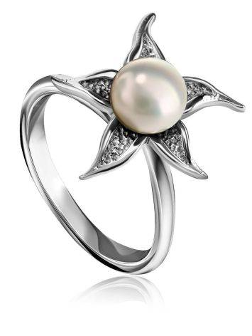 Silver Floral Ring With White Cultured Pearl The Persimmon, Ring Size: 6.5 / 17, image