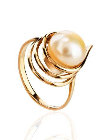 Refined Gold-Plated Ring With Cultured Pearl The Serene, Ring Size: 6.5 / 17, image