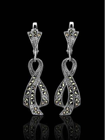 Twisted Marcasite Dangle Earrings In Sterling Silver The Lace, image , picture 2