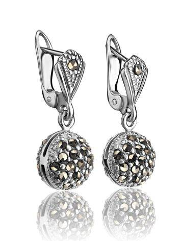 Sterling Silver Dangle Earrings With Marcasites The Lace, image