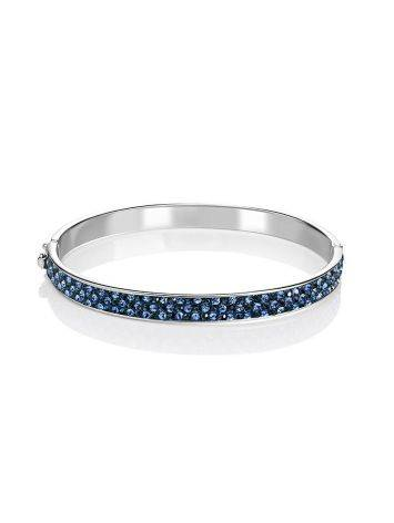 Sterling Silver Hinged Clasp Bracelet With Blue Crystals The Eclat, image , picture 3