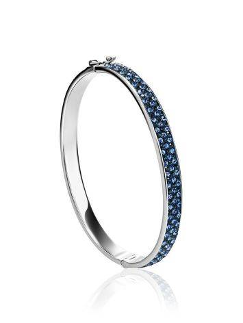 Sterling Silver Hinged Clasp Bracelet With Blue Crystals The Eclat, image