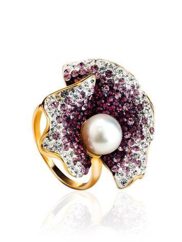 Bold Gold-Plated Floral Ring With Purple Crystals And Cultured Pearl The Jungle, Ring Size: 8 / 18, image