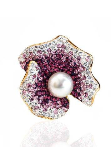 Bold Gold-Plated Floral Ring With Purple Crystals And Cultured Pearl The Jungle, Ring Size: 8 / 18, image , picture 3