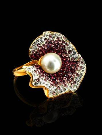Bold Gold-Plated Floral Ring With Purple Crystals And Cultured Pearl The Jungle, Ring Size: 8 / 18, image , picture 2