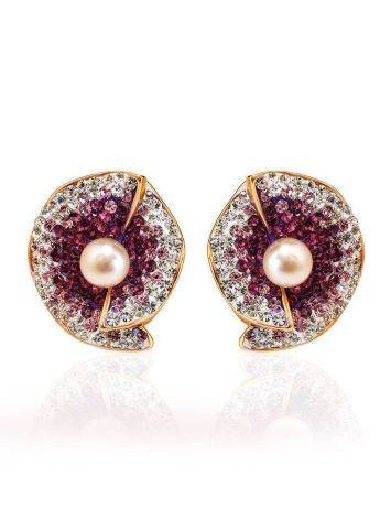 Floral Gold-Plated Earrings With Crystals And Cultured Pearls The Jungle, image , picture 3