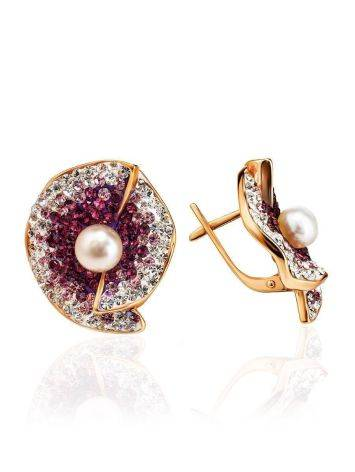 Floral Gold-Plated Earrings With Crystals And Cultured Pearls The Jungle, image