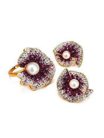 Bold Gold-Plated Floral Ring With Purple Crystals And Cultured Pearl The Jungle, Ring Size: 8 / 18, image , picture 5