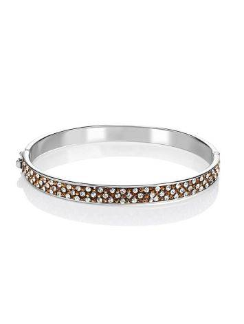 Bright Silver Hinged Bracelet With Champaign Crystals The Eclat, image , picture 3