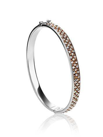 Bright Silver Hinged Bracelet With Champaign Crystals The Eclat, image