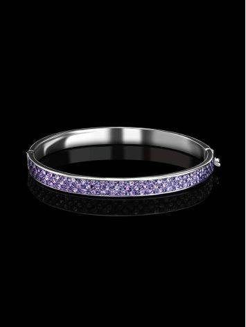 Silver Hinged Clasp Bracelet With Lilac Crystals The Eclat, image , picture 2