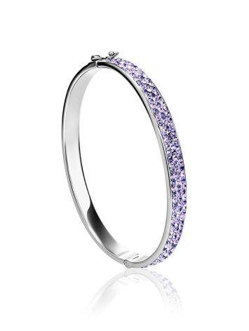 Silver Hinged Clasp Bracelet With Lilac Crystals The Eclat, image