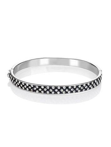 Silver Hinged Bracelet With Black And White Crystals The Eclat, image , picture 3