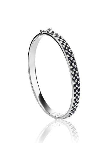 Silver Hinged Bracelet With Black And White Crystals The Eclat, image