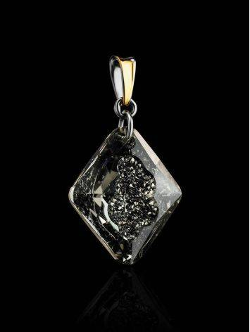 Bold Gold Plated Pendant With Black Crystal The Fame, image , picture 2