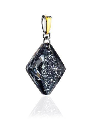 Bold Gold Plated Pendant With Black Crystal The Fame, image