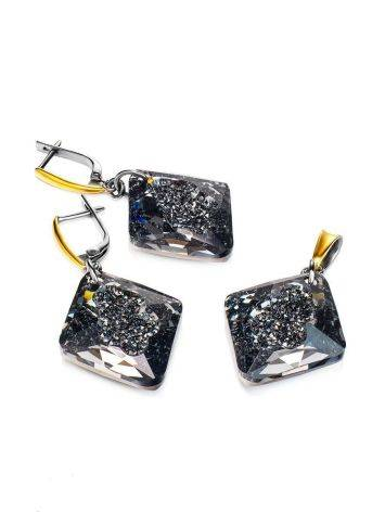 Bold Gold Plated Pendant With Black Crystal The Fame, image , picture 5