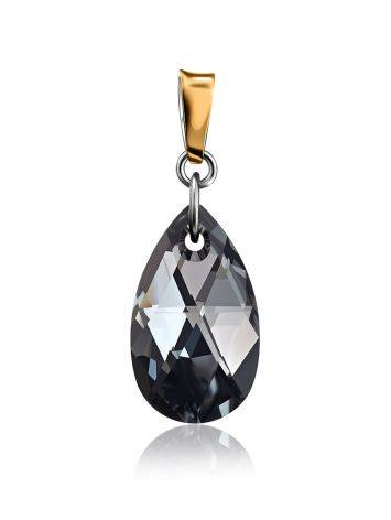 Black Crystal Pendant In Gold Plated Silver The Fame, image