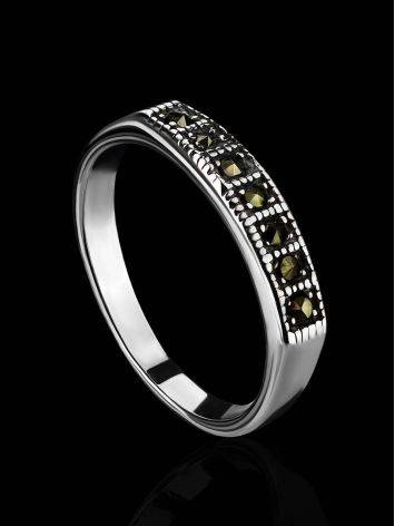 Laconic Sterling Silver Ring With Marcasites The Lace, Ring Size: 6 / 16.5, image , picture 2