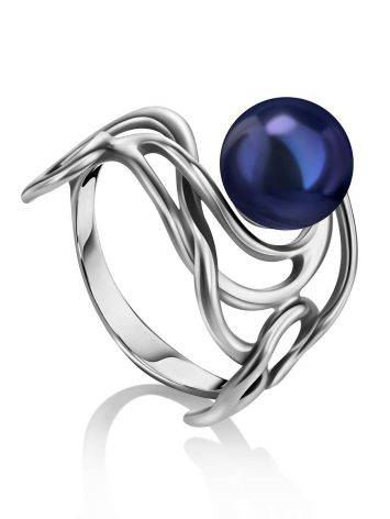 Voluptuous Silver Cocktail Ring With Deep Purple Cultured Pearl The Serene, Ring Size: 6 / 16.5, image