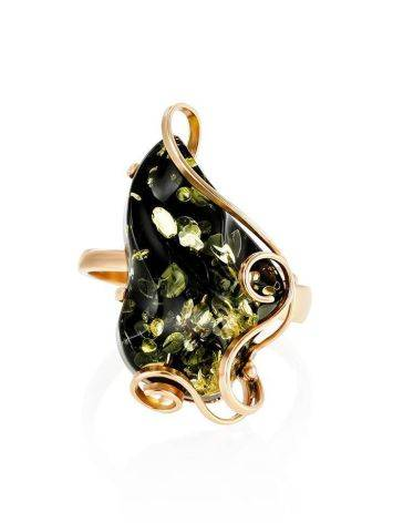 Golden Cocktail Ring With Green Amber The Rialto, Ring Size: Adjustable, image , picture 3
