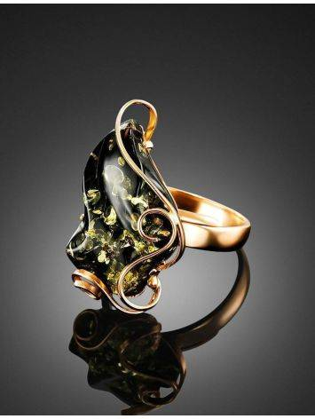 Golden Cocktail Ring With Green Amber The Rialto, Ring Size: Adjustable, image , picture 2