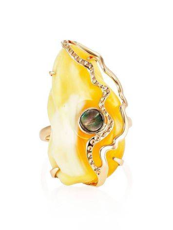 Golden Amber Adjustable Ring With Nacre The Atlantis, Ring Size: Adjustable, image , picture 3