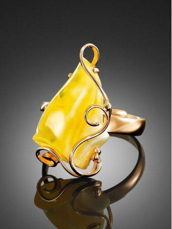 Cloudy Amber Golden Ring The Rialto, Ring Size: Adjustable, image , picture 2