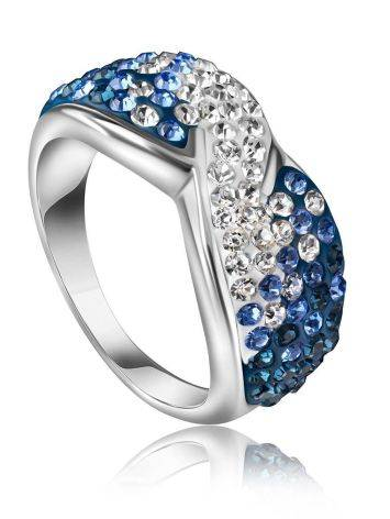 Silver Band Ring With Blue And White Crystals The Eclat, Ring Size: 7 / 17.5, image
