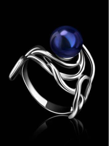 Voluptuous Silver Cocktail Ring With Deep Purple Cultured Pearl The Serene, Ring Size: 6 / 16.5, image , picture 2
