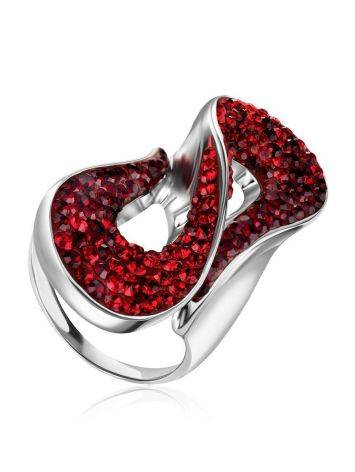 Red Crystal Cocktail Ring The Eclat, Ring Size: 8 / 18, image