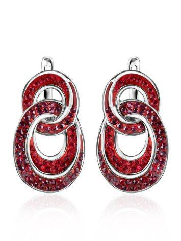 Red Crystal Earrings In Sterling Silver The Eclat, image