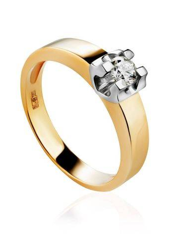 Stylish Golden Ring With Solitaire Diamond, Ring Size: 8 / 18, image