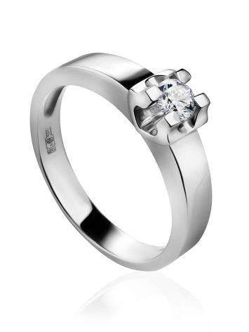White Gold Statement Ring With Diamond Centerpiece, Ring Size: 7 / 17.5, image
