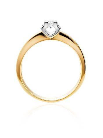 Stylish Golden Ring With Solitaire Diamond, Ring Size: 8 / 18, image , picture 3