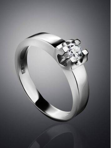 White Gold Statement Ring With Diamond Centerpiece, Ring Size: 7 / 17.5, image , picture 2