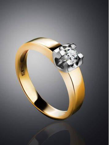 Stylish Golden Ring With Solitaire Diamond, Ring Size: 8 / 18, image , picture 2