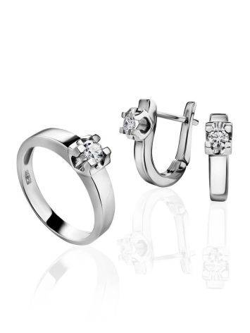 White Gold Statement Ring With Diamond Centerpiece, Ring Size: 7 / 17.5, image , picture 4