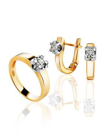 Stylish Golden Ring With Solitaire Diamond, Ring Size: 8 / 18, image , picture 4