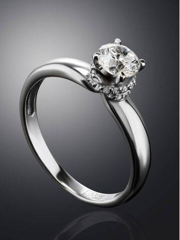 White Gold Ring With Solitaire Diamond And 26 Small Diamonds, Ring Size: 6 / 16.5, image , picture 2