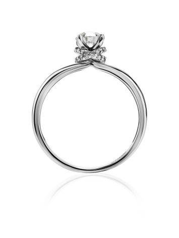 White Gold Ring With Solitaire Diamond And 26 Small Diamonds, Ring Size: 6 / 16.5, image , picture 3
