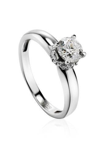 White Gold Ring With Solitaire Diamond And 26 Small Diamonds, Ring Size: 6 / 16.5, image