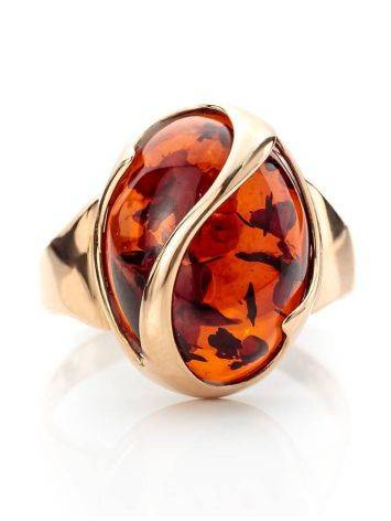 Cognac Amber Ring In Gold, Ring Size: 9.5 / 19.5, image , picture 3