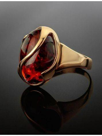 Cognac Amber Ring In Gold, Ring Size: 9.5 / 19.5, image , picture 2