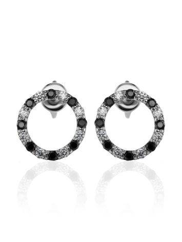 Round Silver Studs With Black And White Crystals The Aurora, image , picture 3