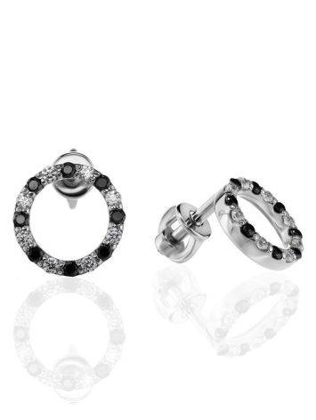 Round Silver Studs With Black And White Crystals The Aurora, image