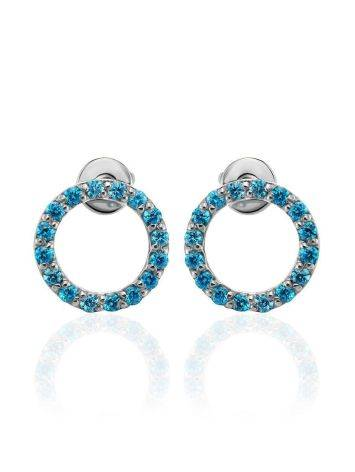 Round Silver Studs With Light Blue Crystals The Aurora, image , picture 3