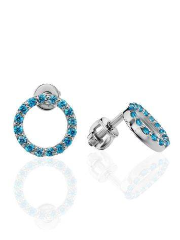 Round Silver Studs With Light Blue Crystals The Aurora, image